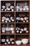Medicine cabinet. Antique medicine cabinet used for storing drugs stock photo