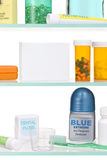 Medicine Cabinet. A medicine cabinet with a blank product box for designer use royalty free stock photography