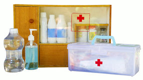 Medicine cabinet isolate. Medicine cabinet and first aid kit,isolate royalty free stock photography