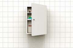 Medicine cabinet with open door. 3D rendering of a medicine cabinet with open door on a tiled wall royalty free stock image