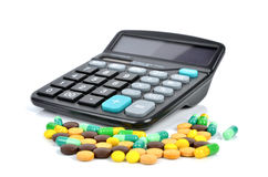 Medicine and calculator Royalty Free Stock Photo