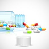 Medicine Capsule in Bottle Royalty Free Stock Images