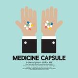 Medicine Capsule In Hand. Vector Illustration Stock Photo