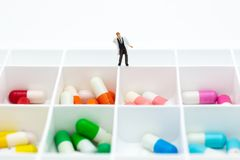 Medicine capsule is stored in a box. Image use for health care concept.  Royalty Free Stock Image