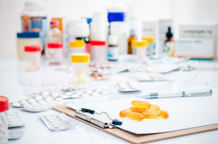 Medicine capsules and tablets Stock Photo