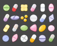 Medicine cartoon pill, drug, table, antibiotics, medication dose cartoon flat style icons. Royalty Free Stock Photos
