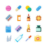 Medicine cartoon pill, drug, table, antibiotics, medication dose flat icons. Color icons drug for medication, vitamin chemical drugs illustration Stock Images