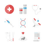 Medicine and clinical flat icons set. Flat icons set of medicine service, surgery instruments, medication pills and drugs, emergency hotline, clinical analysis royalty free illustration