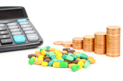 Medicine,coins and calculator Royalty Free Stock Photos