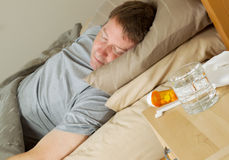 Medicine for Cold on Night Stand Stock Photography