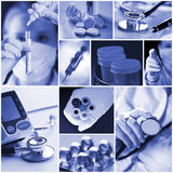 Medicine collage. Laboratory, pharmacy and medicine collage Royalty Free Stock Photo