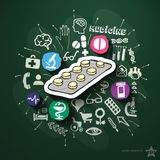 Medicine collage with icons on blackboard Stock Image