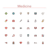 Medicine Colored Line Icons. Set. Vector illustration Royalty Free Stock Images