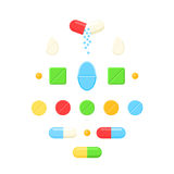 Medicine colorful pills. Medicine pills, colorful drug tablets and close and open capsule. Vector illustration icon set isolated on white background Royalty Free Stock Photo