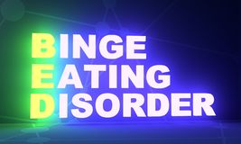 Medicine concept acronym. Acronym BED - Binge Eating Disorder. Helthcare conceptual image. 3D rendering. Neon bulb illumination royalty free stock photos