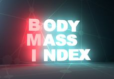 Medicine concept acronym. Acronym BMI - Body Mass Index. Helthcare conceptual image. 3D rendering. Neon bulb illumination Stock Photo
