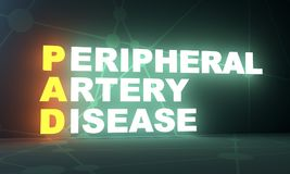 Medicine concept acronym. Acronym PAD - Peripheral Artery Disease. Helthcare conceptual image. 3D rendering. Neon bulb illumination Royalty Free Stock Photography