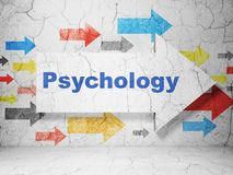 Medicine concept: arrow with Psychology on grunge wall background. Medicine concept:  arrow with Psychology on grunge textured concrete wall background, 3D Stock Photography