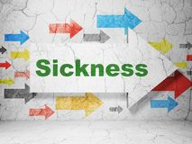 Medicine concept: arrow with Sickness on grunge wall background. Medicine concept:  arrow with Sickness on grunge textured concrete wall background, 3D rendering Royalty Free Stock Images