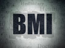 Medicine concept: BMI on Digital Data Paper background. Medicine concept: Painted black text BMI on Digital Data Paper background with   Tag Cloud Stock Image