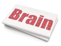 Medicine concept: Brain on Blank Newspaper background. Medicine concept: Pixelated red text Brain on Blank Newspaper background, 3D rendering Royalty Free Stock Image