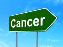 Medicine concept: Cancer on road sign background. Medicine concept: Cancer on green road highway sign, clear blue sky background, 3D rendering Royalty Free Stock Photography