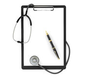Medicine Concept. Clipboard with Stethoscope and Pen Royalty Free Stock Images