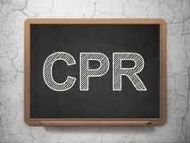 Medicine concept: CPR on chalkboard background Stock Image