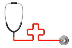 Medicine concept. Cross-shaped stethoscope Royalty Free Stock Photography