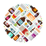 Medicine concept. Drug, medication, bottles and pills icons. Vector illustration Royalty Free Stock Photography