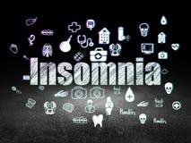 Medicine concept: Insomnia in grunge dark room. Medicine concept: Glowing text Insomnia,  Hand Drawn Medicine Icons in grunge dark room with Dirty Floor, black Royalty Free Stock Image
