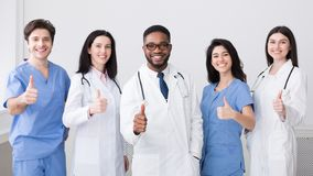 Medicine Concept. Happy Doctors Showing Thumbs Up stock image