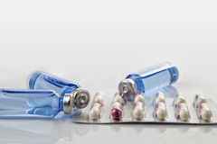 Medical ampoules and capsules Royalty Free Stock Image