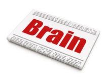 Medicine concept: newspaper headline Brain. On White background, 3D rendering Royalty Free Stock Photos