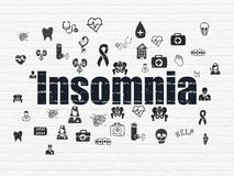 Medicine concept: Insomnia on wall background. Medicine concept: Painted black text Insomnia on White Brick wall background with  Hand Drawn Medicine Icons Stock Image