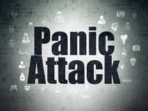 Medicine concept: Panic Attack on Digital Data Paper background. Medicine concept: Painted black text Panic Attack on Digital Data Paper background with  Hand Royalty Free Stock Photo