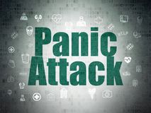 Medicine concept: Panic Attack on Digital Data Paper background. Medicine concept: Painted green text Panic Attack on Digital Data Paper background with  Hand Stock Photo