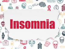 Medicine concept: Insomnia on Torn Paper background. Medicine concept: Painted red text Insomnia on Torn Paper background with  Hand Drawn Medicine Icons Royalty Free Stock Images