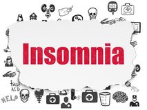 Medicine concept: Insomnia on Torn Paper background. Medicine concept: Painted red text Insomnia on Torn Paper background with  Hand Drawn Medicine Icons Stock Images