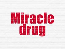 Medicine concept: Miracle Drug on wall background. Medicine concept: Painted red text Miracle Drug on White Brick wall background stock illustration