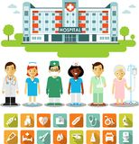 Medicine concept with people, icons and hospital building Stock Photos