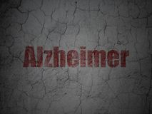 Medicine concept: Alzheimer on grunge wall background. Medicine concept: Red Alzheimer on grunge textured concrete wall background Stock Photo