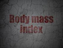 Medicine concept: Body Mass Index on grunge wall background. Medicine concept: Red Body Mass Index on grunge textured concrete wall background royalty free illustration