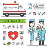 Medicine Concept Set With Ambulance And Doctors Stock Photography