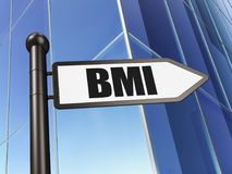 Medicine concept: sign BMI on Building background. 3D rendering Royalty Free Stock Photos