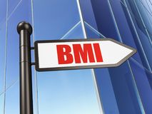 Medicine concept: sign BMI on Building background. 3D rendering Stock Image