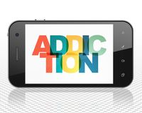 Medicine concept: Smartphone with Addiction on  display. Medicine concept: Smartphone with Painted multicolor text Addiction on display, 3D rendering Stock Image