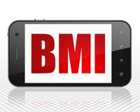 Medicine concept: Smartphone with BMI on display. Medicine concept: Smartphone with red text BMI on display, 3D rendering Stock Photography