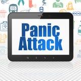 Medicine concept: Tablet Computer with Panic Attack on display. Medicine concept: Tablet Computer with  blue text Panic Attack on display,  Hand Drawn Medicine Royalty Free Stock Photos
