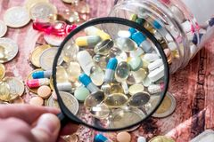 Various pills with syringe Royalty Free Stock Photo